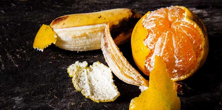 cascas de laranja e banana